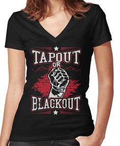 6248cc19aa tapout or blackout Women's Fitted V-Neck T-Shirt
