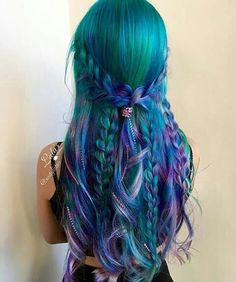 Hair color blue, green and purple