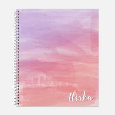 This pretty notebook features the your choice of 5 ombre watercolor wash backgrounds with your name. See all pictures in this listing for the 5