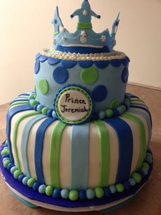 Prince baby shower cake  Green blue