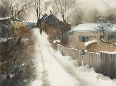 "Sergei Kurbatov   ""К соседке за огурцами"", бумага-акварель, 45х33 см ""To a neighbor for cucumbers"" watercolor on paper"