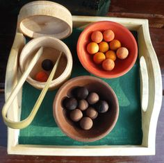 Wooden Counting and Sorting Game with Tray by UrbanHomesteaders