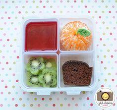 kiwi flowers, cherry jello, chocolate zuchini bread and a clementine