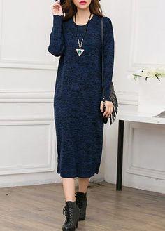 Long Sleeve Round Neck Navy Blue Dress on sale only US$38.69 now, buy cheap Long Sleeve Round Neck Navy Blue Dress at lulugal.com