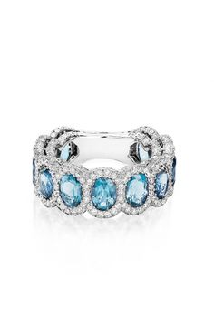 Colorful glamour is easy to achieve with Haute Vault's 18K white gold band comprised of stunning aquamarine stones, each surrounded by diamonds. Raise the stakes and compliment your look with one of our 18K white gold diamond bracelets and glistening drop earrings in every shade of blue. Ring Size 6 3/4 WHITE GOLD AQUAMARINE & DIAMOND RING Haute Vault WEEKLY RENTAL: $410.00  MONTHLY RENTAL: $1,476.00 Retail Price: $10,600.0