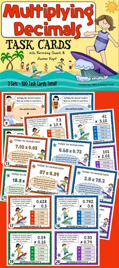 This multiplying decimals pack has a total of one hundred (100) task cards divided into three (3) sets. The problems have varying levels of difficulty which will provide excellent practice to students at all skill levels.$