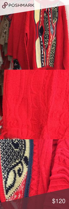 """Coogie outfit, XXL, Long Men or Women outfit, Wild, I think. Had to have it, way too large. No size on it. Bright cherry red, interesting weave. Pants tie top and ankle. Sweater pullover. Drop sleeve shoulder. Neck edge to wrist 34"""". PtoP 28"""", 33"""" Long. Pants 43"""" long COOGI Sweaters"""