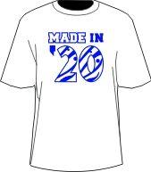 MADE IN... Shirt, White/Royal (Zeta)  Item Id: PRE-MADEIN-ZFB  Price:  $39.00