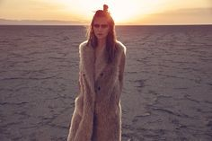 Rosie Tupper wears a long fur vest for Madame Figaro Spain magazine January issue