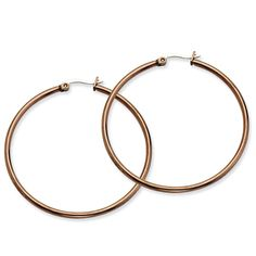 Stainless Steel Chocolate IP plated 48mm Hoop Earrings