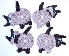 Siamese Cat Butt Coasters Peek-A-Boo Seal by WyvernDesignsHome