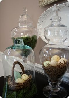 spring nests-a great seasonal way to utilize glass jars all year round