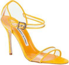 http://elle.shopstyle.com: Manolo Blahnik Fersen yellow suede sandal