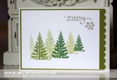 Stampin' Up! ... handmade Christmas card ...  Festival of Trees  ... silver embossing ... grouping of trees in different greens and stamping off ... illusion of a forest in the snow ... great card!