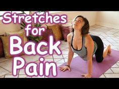 Stretches for Back Pain Relief, How to Stretch Routine, Beginners Home Yoga I love Jen Hilman. Shel is my perfect at home yoga instructor! These are fine stretches for back paint. Lower Back Pain Relief, Yoga For Back Pain, Relieve Back Pain, Low Back Pain, Yoga Hip Stretches, Back Pain Exercises, Yoga Poses, Pool Exercises, Stretching