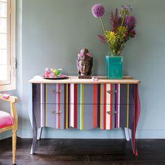 Cassettone multicolore a righe in legno L 120 cm