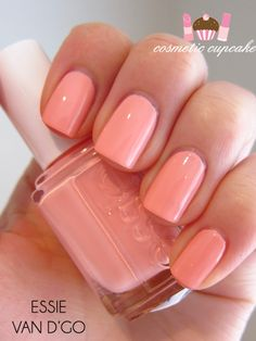 "Essie ""Van D'Go"" love the color but also her nails. Love Nails, How To Do Nails, Pretty Nails, Fun Nails, Uñas Color Coral, Peach Nails, Peach Nail Polish, Coral Pink Nails, Peach Colored Nails"
