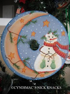 Snowman & the Crescent Moon CD Ornament by CyndiMacsNickKnacks, $17.95