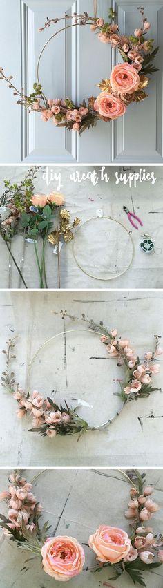 Check out the tutorial on how to make a DIY gold hoop floral fall wreath DIY Hom… – Blumenkranz Haare Diy Fall Wreath, Fall Wreaths, Summer Wreath, Door Wreaths, Wreath Ideas, Gold Diy, Ideias Diy, Deco Floral, Diy Décoration