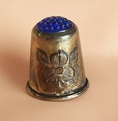 Vintage Deco thimble HJ Sterling cobalt glass by VintageDrawer Cobalt Glass, Cobalt Blue, Sewing Machine Accessories, Vintage Sewing Notions, Sewing Tools, Needle And Thread, Pin Cushions, Shadow Box, Couture