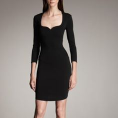 Thierry Mugler Black Jersey BodyCon Dress 38/2 NWT Thierry Mugler Black Jersey BodyCon Dress w/ Scoop Neckline & Sweetheart detail.  Formfitting silhouette; dropped waist defined by bias seaming.  Three-Quarter Sleeves, back zipper, acetate/polyamide/elastane, size 38/2 NWT Thierry Mugler Dresses