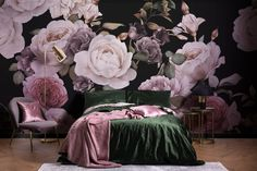 Browse & shop our range of stunning flower wallpaper & large scale floral mural designs. Get the perfect floral interior you desire. Dark Purple Bedrooms, Dark Purple Walls, Dark Purple Bathroom, Black Floral Wallpaper, Flower Wallpaper, Black Wallpaper Bedroom, Botanical Wallpaper, Modern Wallpaper, Rose Illustration
