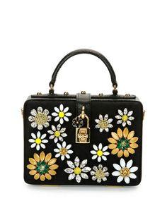 V2QJB Dolce & Gabbana Dolce Box Crystal Flower Satchel Bag, Black/Multi