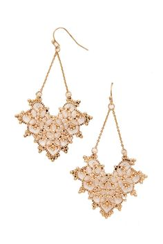 A pair of drop earrings featuring an ornate heart design with a high polish finish and fish hook back #accessorize