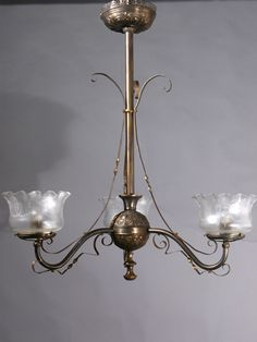 Circa 1870, 3-Light East Lake Electrified Oil Chandelier $2330.00 SOLD