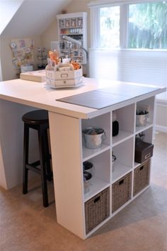 Great study and well organized. What's not an Ikea … - Home Page Ikea Regal Expedit, Ikea Expedit Shelf, Kallax Regal, Top Of Cabinet Decor, Craft Room Tables, Student Room, Table Top Design, Ikea Hack, Storage Spaces