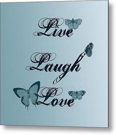 Live Laugh Love Butterflies Metal Print