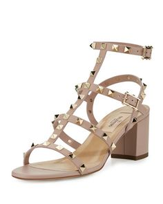 Rockstud+Leather+City+Sandal,+Poudre+by+Valentino+at+Neiman+Marcus.