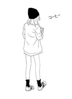 manga, anime, and aesthetic image Art Drawings Sketches, Cute Drawings, Outline Art, Simple Art, Aesthetic Art, Tattoo Studio, Illustrations Posters, Art Inspo, Art Girl