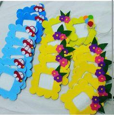 Keçe çerçeve Art N Craft, Craft Stick Crafts, Decor Crafts, Diy And Crafts, Paper Cup Crafts, Felt Crafts, Letter E Craft, Diy For Kids, Crafts For Kids