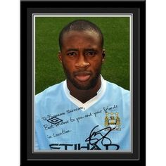 Yaya Toure Signed Photo  This is a fantastic present for any Manchester City fan and is approved and fully licensed by Man City.    This is a unique gift displaying the player's photo and a personalised message alongside his replica printed autograph.     Choose from Adam Johnson, Kolorov,  Pantilimon,Tevez, Silva, Dzeko, Clichy, Barry, Hart, Milner, Kolo Toure, Ballotelli, De Jong, Zabaleta, Mancini, Kompany, Yaya Toure, Nasri, Aguero & Savic. Kolo Toure, Adam Johnson, Manchester City, Gifts For Boys, Unique Gifts, Soccer, Football, Fan, Baseball Cards