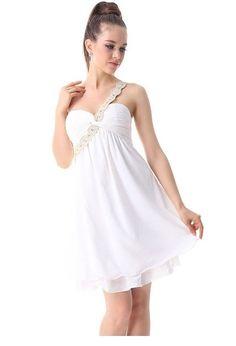 Ever Pretty Macrame One Shoulder BNWT Rhinestones Ruffles Wedding Dress $29.99