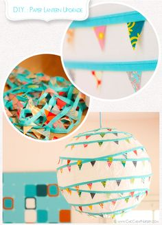 Banner covered paper lanterns - DIY -  as party decor. I'm thinking of the two huge white lanterns not being used and our backyard tea party this summer.