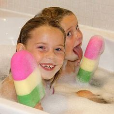 Splashpops - Ice Lolly Bath Sponge -  This giant bath sponge is shaped like a classic multi-colored ice pop. $12.99