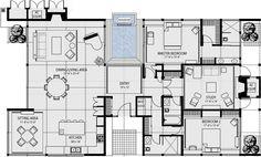 Modern Style House Plan - 3 Beds 3 Baths 2787 Sq/Ft Plan #544-1 Main Floor Plan - Houseplans.com