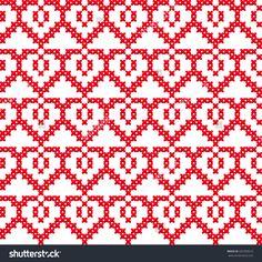 Slavic seamless pattern ornament cross stitch. Pattern with hearts. Winter knitted pattern