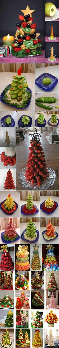 Christmas trees made of food. Getting in the spirit