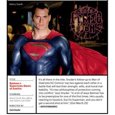 """NEW STILL! """"@Vanessaperez791: Love this pic of #HenryCavill from #BatmanvSuperman in my EW Comic-Con bonus issue. Saturday is gonna blow us away!❤️"""" -- Yes, Supes and Solo both will! - Thank you so much for sharing. #HallHTakeover #Superman #NapoleonSolo #ManofSteel #ManFromUNCLE #dawnofjustice #TheManFromUNCLE #ClarkKent #SanDiego #SDCC2015"""