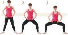 1、肩幅より広めに足を開いて、つま先を外へ向け、背筋を伸ばします 2、腰をそのまま垂直に下ろしていきます 3、膝も股関節も90度になるようにして完成です