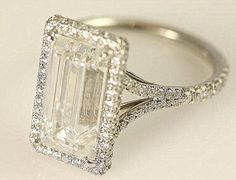 GIA certified - 5 carat - Emerald Cut Diamond engagement ring - solid Platinum- Luxury - engagement - bride - weddings
