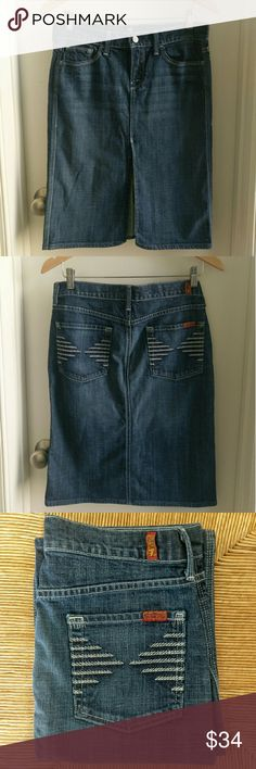 7 for All Mankind Denim Skirt Super sexy and versatile knee length denim skirt with front slit. In excellent condition! 7 For All Mankind Skirts