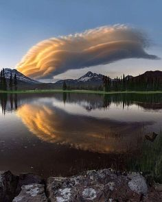 Beautiful cloud formation over the mountains.