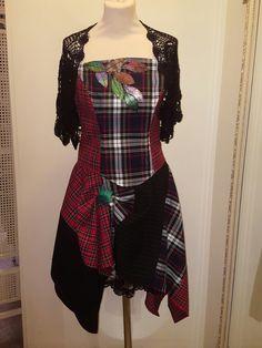 Tartan corset top and skirt hand made by Psychomoda 3bd18a22c8dc0