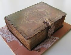 Old book, cake