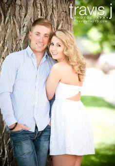 Park Engagement Picture, White Dress, Travis J Photography, Colorado