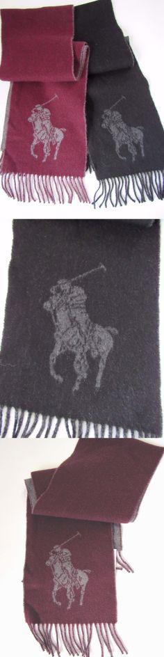 Scarves and Bandanas 169281: Polo Ralph Lauren Scarf, Black Wine, Big Logo, Wool Virgin Nylon, One Size -> BUY IT NOW ONLY: $51.12 on eBay!